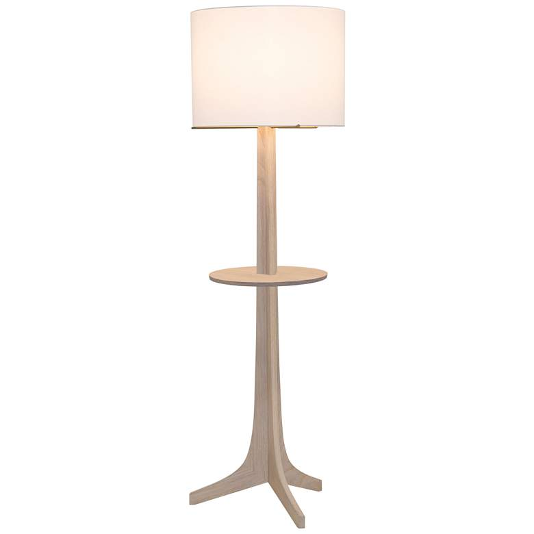 Nauta White Oak Brass LED Tray Floor Lamp with White Shade