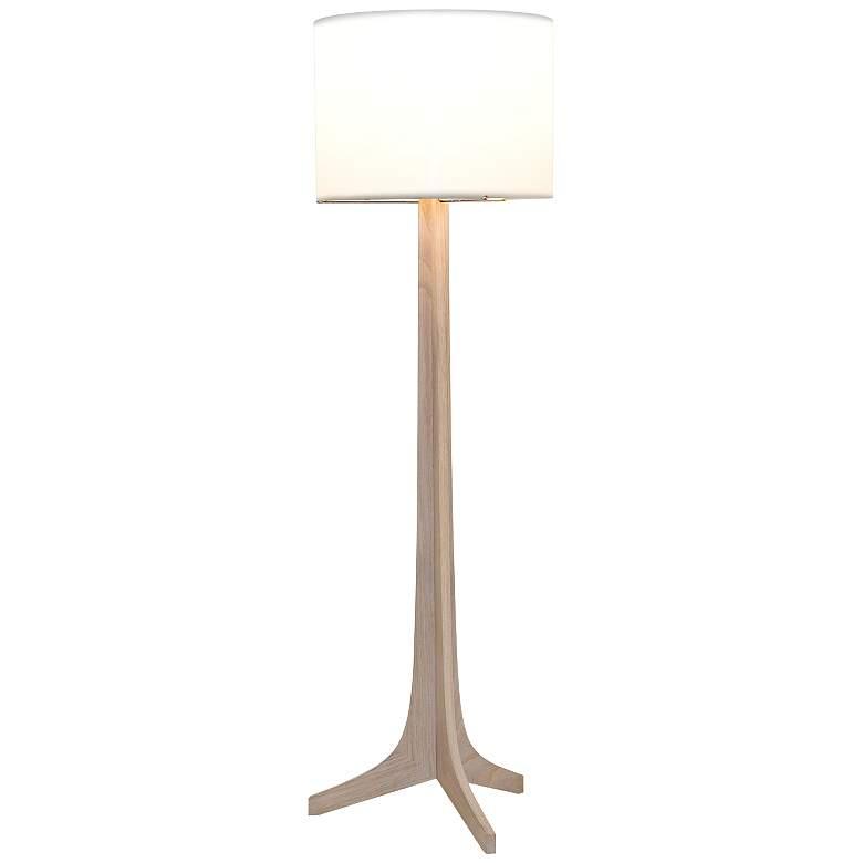 Cerno Nauta White Oak Brass LED Floor Lamp with White Shade