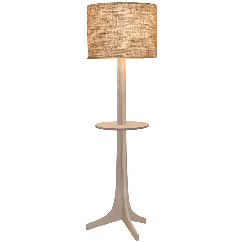 Nauta White Oak Brass LED Tray Floor Lamp with Burlap Shade