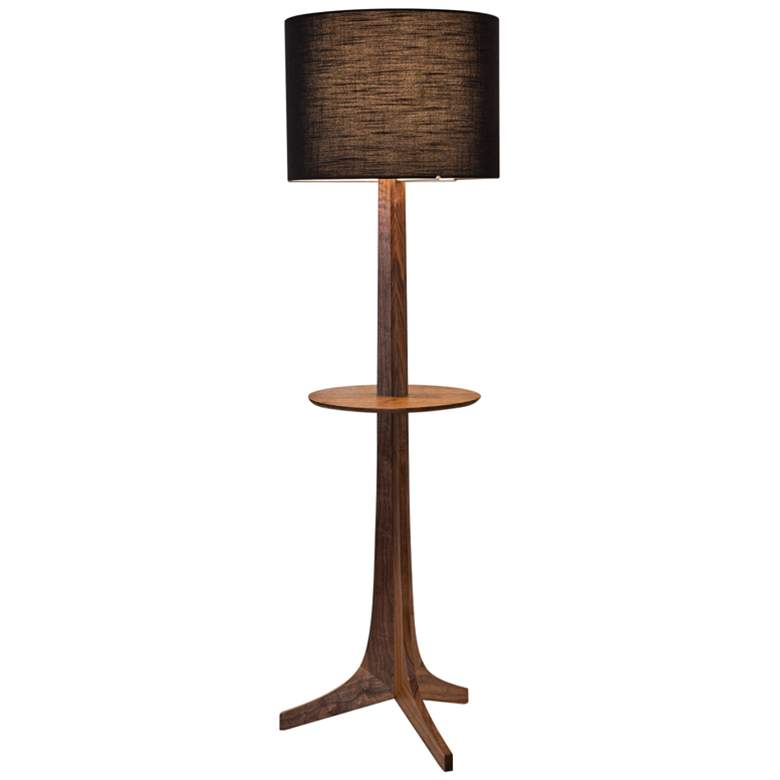 Cerno Nauta Walnut Brass LED Tray Floor Lamp w/ Black Shade