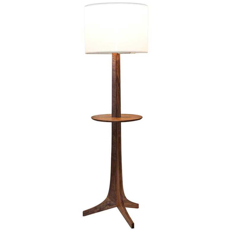 Cerno Nauta Walnut Brass LED Tray Floor Lamp