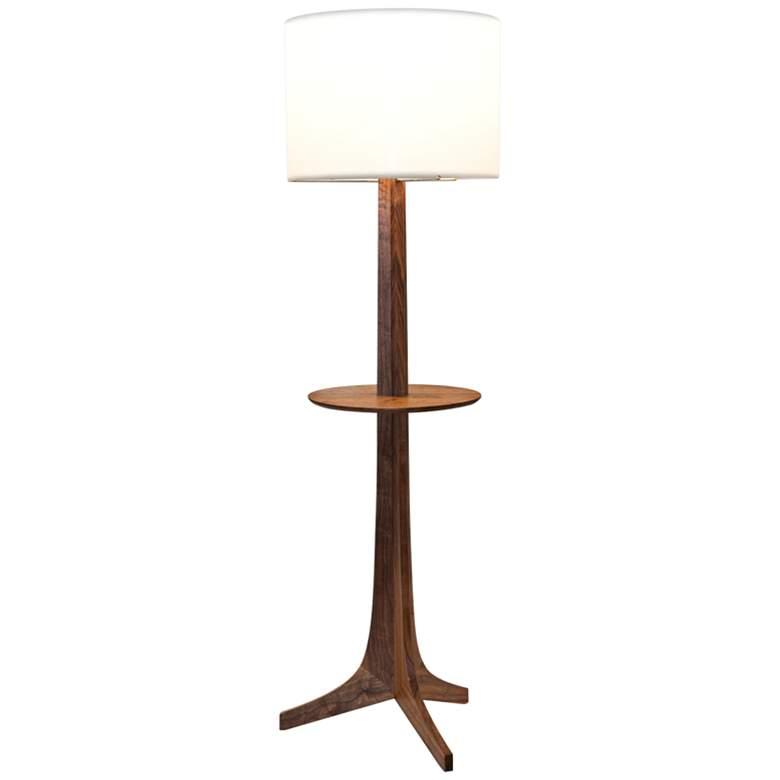 Cerno Nauta Walnut Brass LED Tray Floor Lamp w/ White Shade