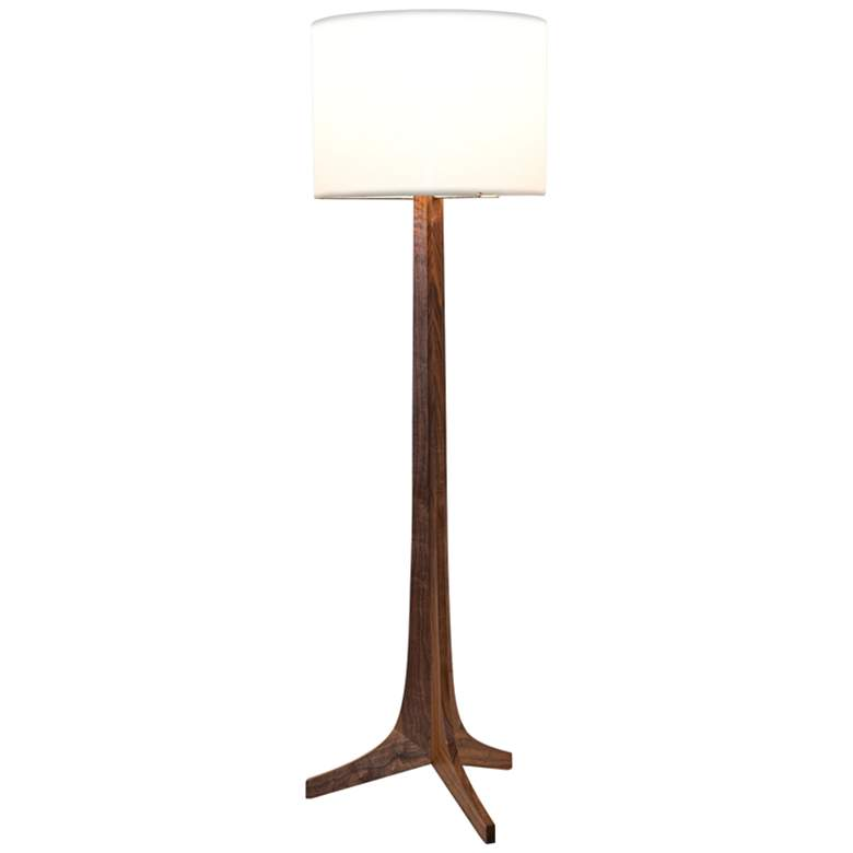 Cerno Nauta Walnut and Brass LED Floor Lamp with White Shade