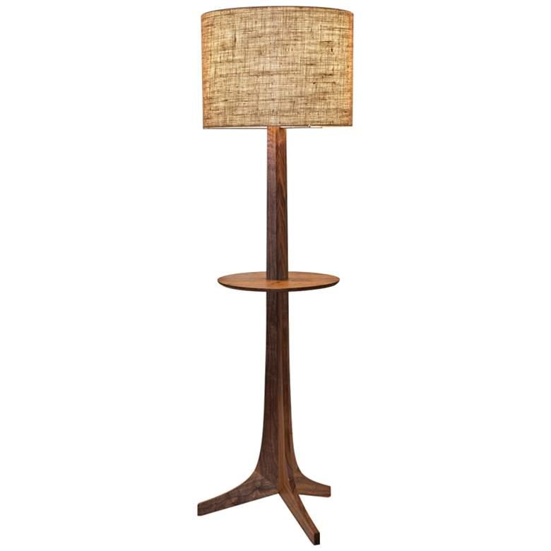 Cerno Nauta Walnut Brass LED Tray Floor Lamp w/ Burlap Shade