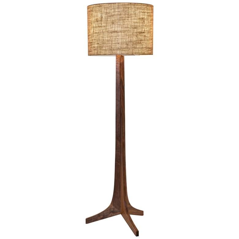Cerno Nauta Walnut and Brass LED Floor Lamp w/ Burlap Shade
