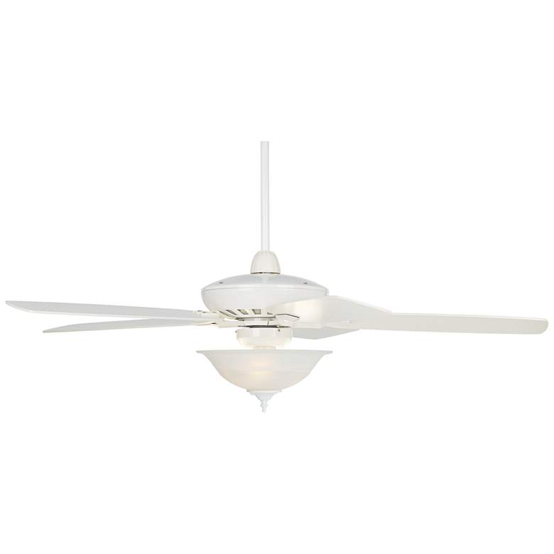 "52"" Casa Journey White Alabaster Glass LED Ceiling Fan"