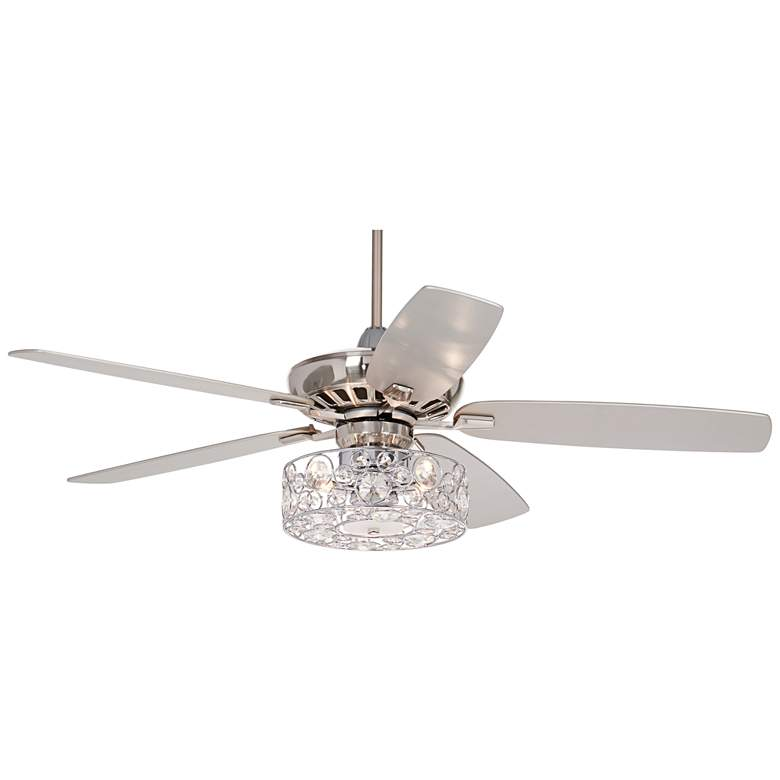 "52"" Journey Brushed Nickel Crystal Circles LED Ceiling Fan"