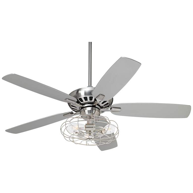 """52"""" Journey Brushed Nickel Industrial Cage LED Ceiling Fan"""