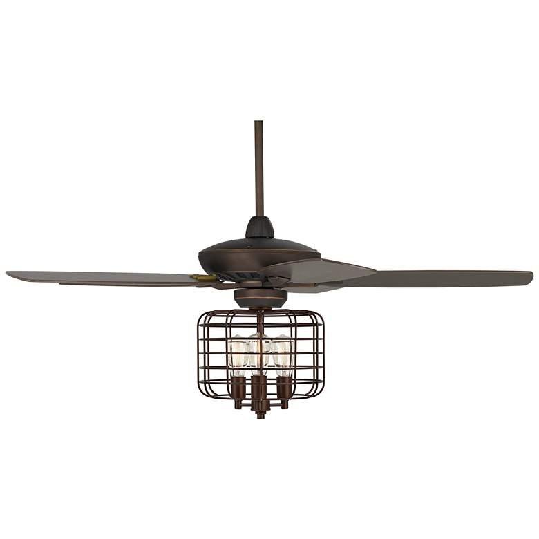 "52"" Casa Journey Bronze Geometric Cage LED Ceiling Fan"