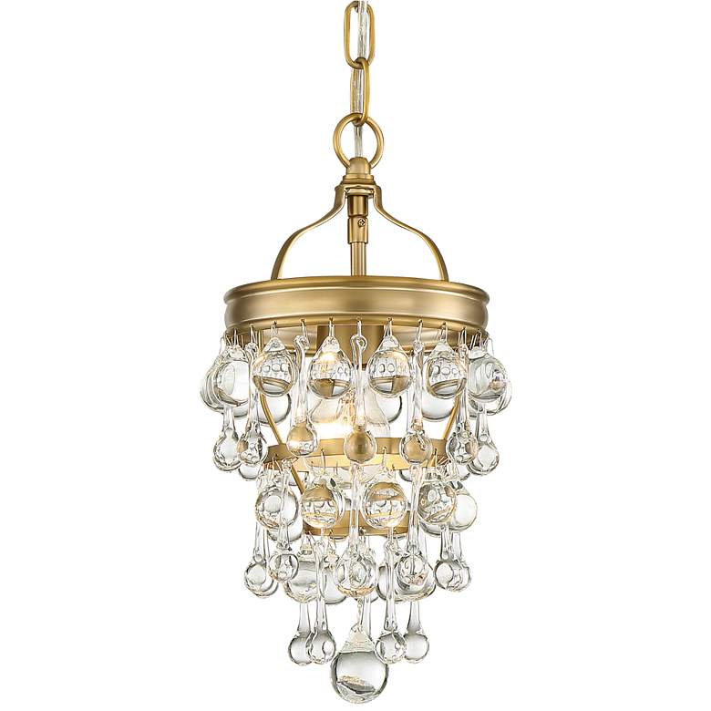 """Calypso 7 1/2"""" Wide Vibrant Gold and Crystal Mini Chandelier"""