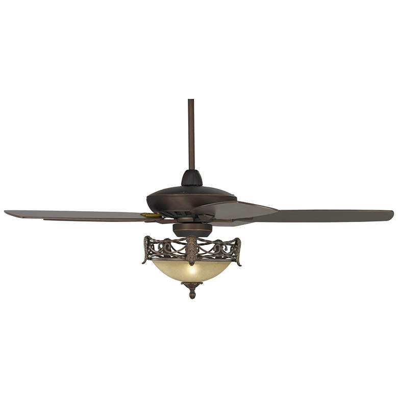 """52"""" Journey Bronze and Scavo Glass Acanthus LED Ceiling Fan"""