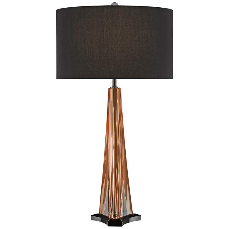 Currey and Company Raquel Amber Glass Pyramid Table Lamp