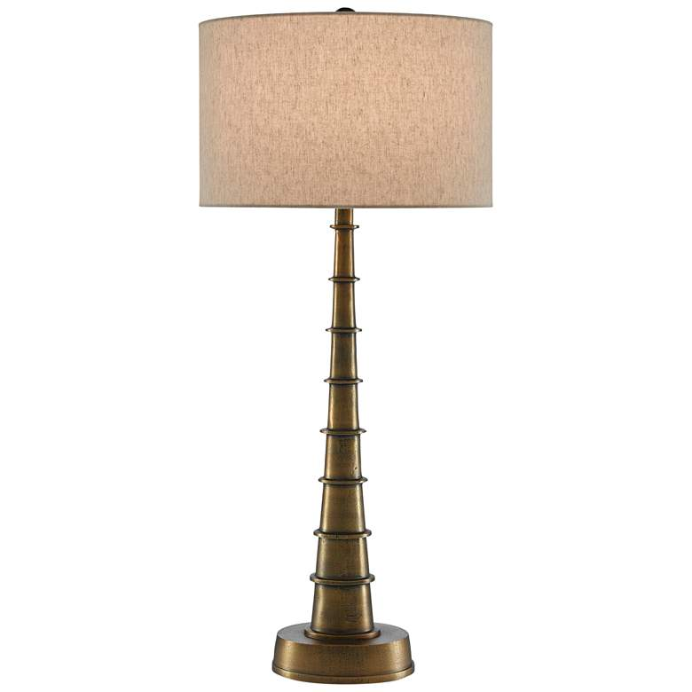 Currey and Company Auger Large Antique Brass Table Lamp