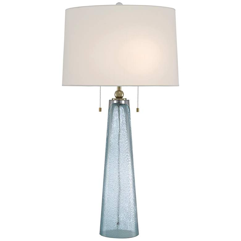 Currey and Company Looke Pale Blue Glass Table