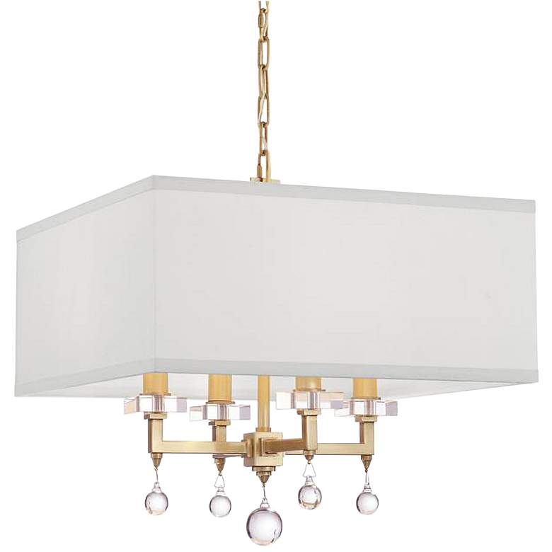 """Crystorama Paxton 16"""" Wide Antique Gold 4-Light Chandelier"""