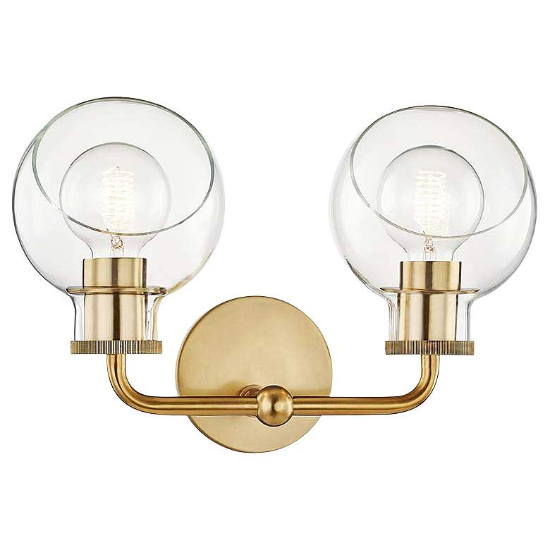 "Mitzi Noelle 10 1/4"" High 2-Light Aged Brass"