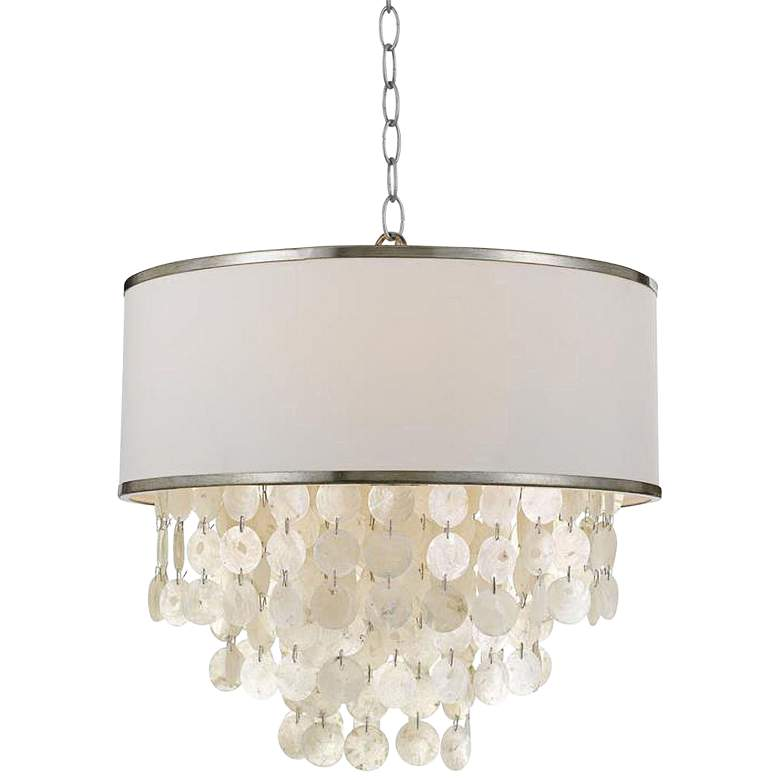 """Crystorama Brielle 18""""W Antique Silver and Shell Chandelier"""