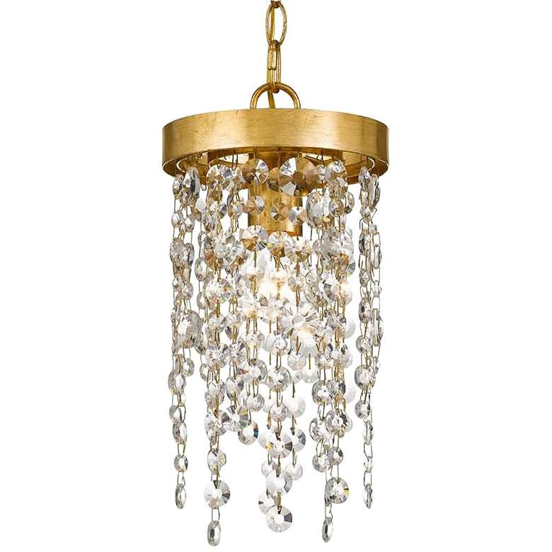 "Crystorama Winham 7""W Antique Gold and Crystal Mini Pendant"