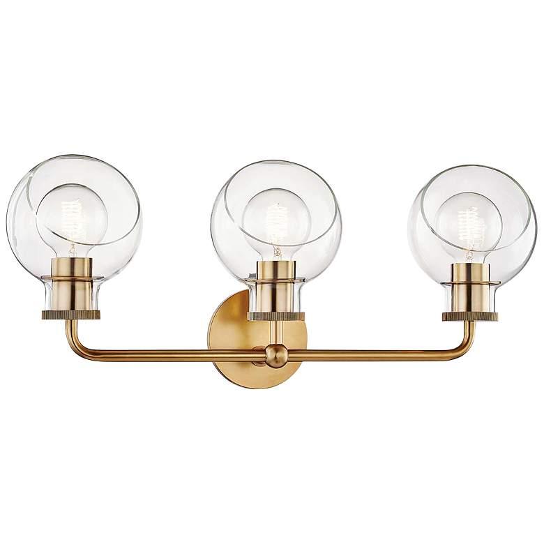 """Mitzi Noelle 24 1/4"""" Wide 3-Light Aged Brass Bath Light"""