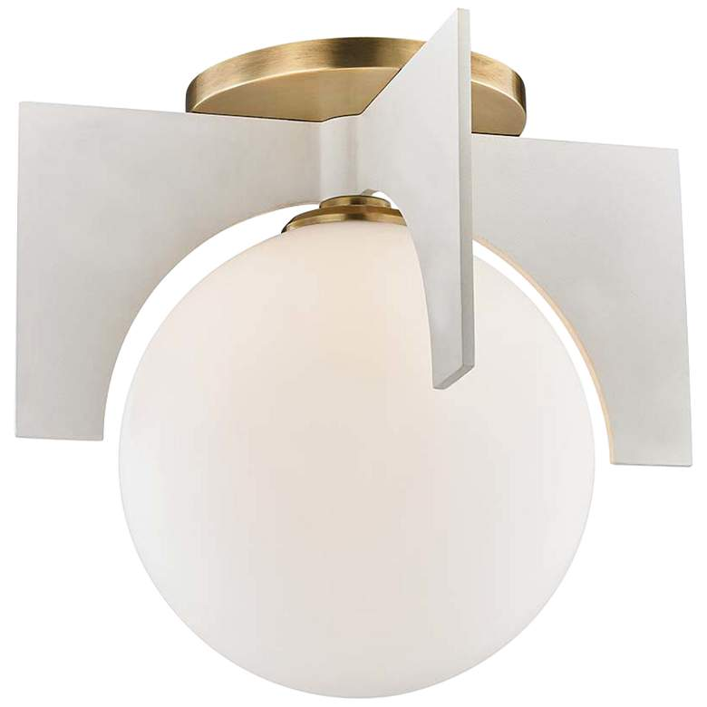 """Mitzi Nadia 11"""" Wide Aged Brass and White Ceiling Light"""