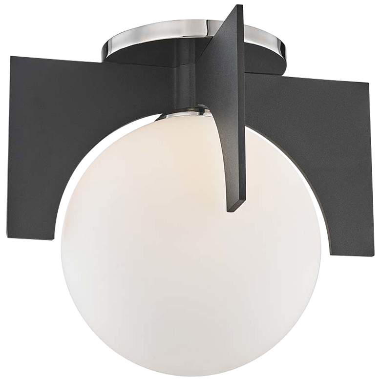 """Mitzi Nadia 11"""" Wide Polished Nickel and Black Ceiling Light"""
