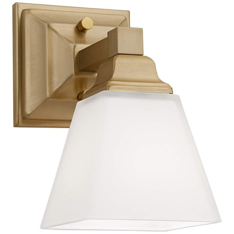 """Mencino-Opal 9"""" High Warm Brass and Opal Glass Wall Sconce"""