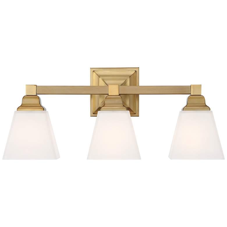 "Mencino 20"" Wide Warm Brass and Opal Glass Bath Light"