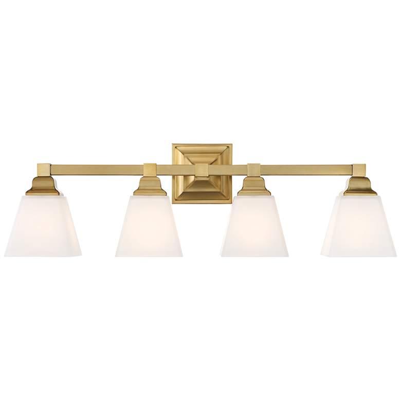 "Mencino-Opal 28"" Wide Warm Brass and Opal Glass Bath Light"