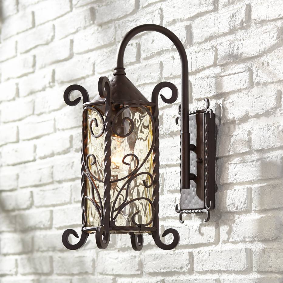 Details About Rustic Outdoor Wall Light Iron Twists 18 1 2 Water Gl For Exterior House
