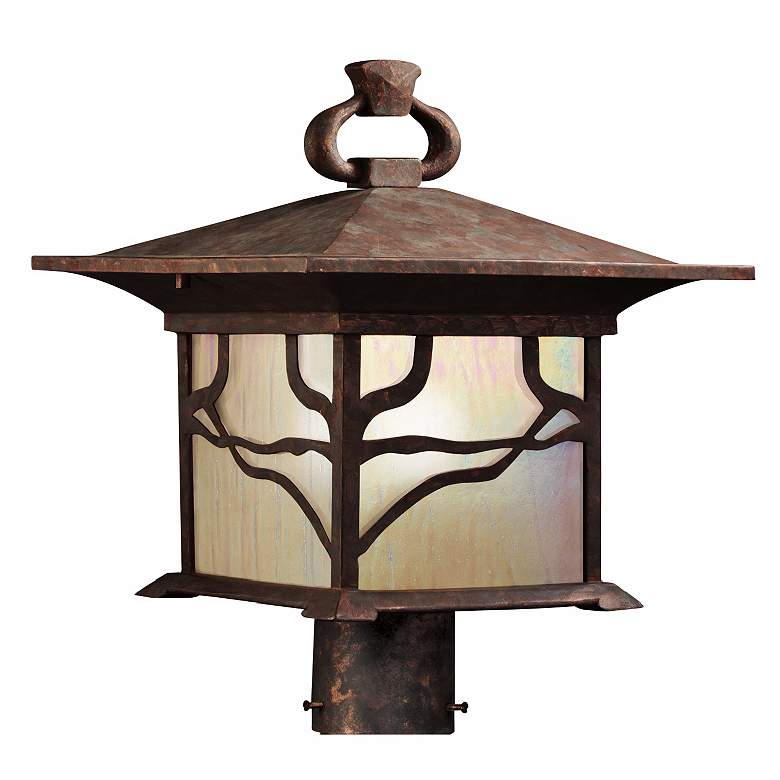 """Kichler Distressed Copper 15"""" High Outdoor Post Light"""