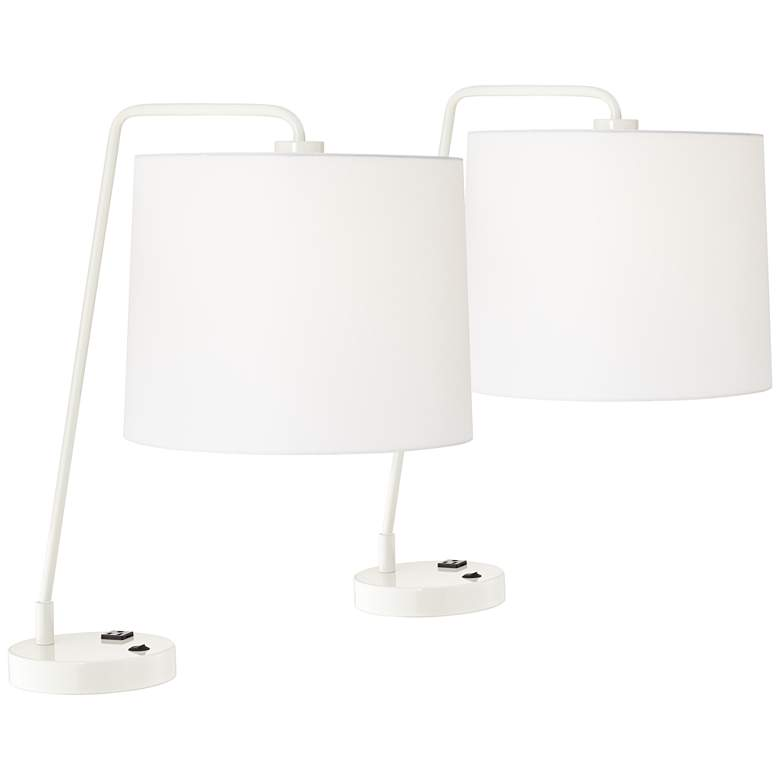 Gwendolyn Cool Gray Metal Table Lamps Set of 2 with Convenience Outlet