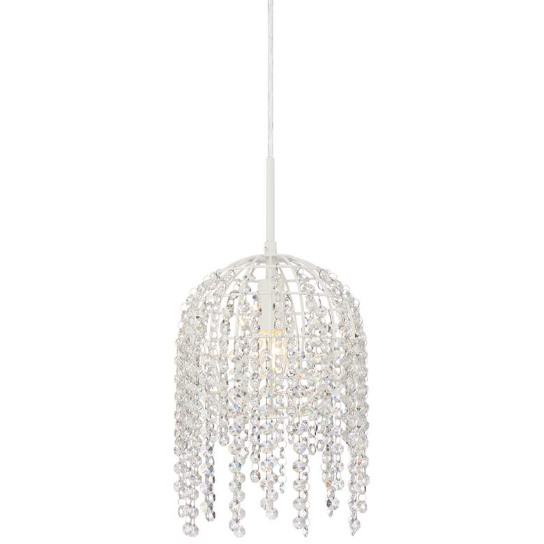 "Elianne 7 3/4"" Wide White and Crystal Mini Pendant Light"