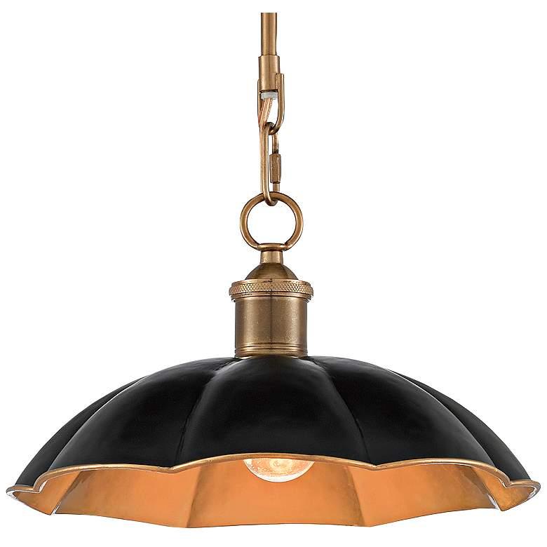 "Elias 12"" Wide Black and Antique Brass Mini Pendant Light"