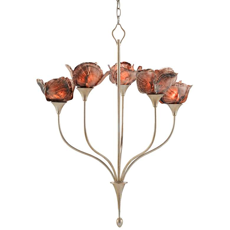 "Catrice 27""W Silver Leaf and Capiz Shells 5-Light Chandelier"