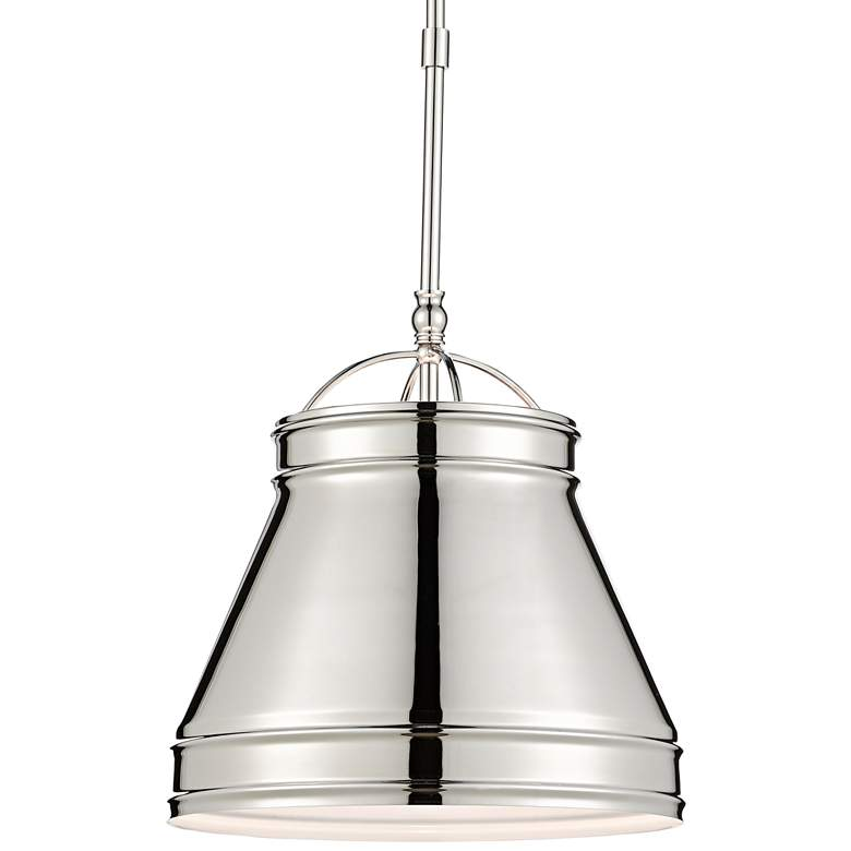 """Currey and Company Lumley 13""""W Polished Nickel Pendant Light"""