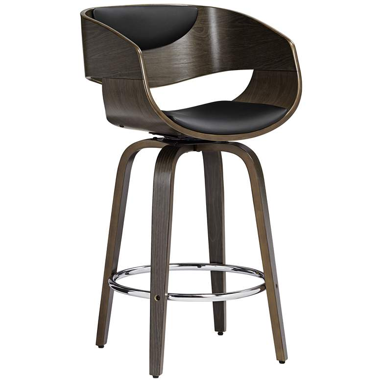"""Carson 23 1/2"""" High Black and Gray Swivel Counter Stool"""