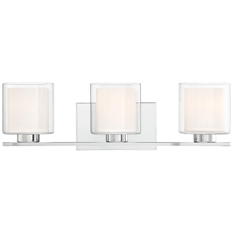 "Dorris 22""W Double Glass 3-Light Chrome Bath Light"