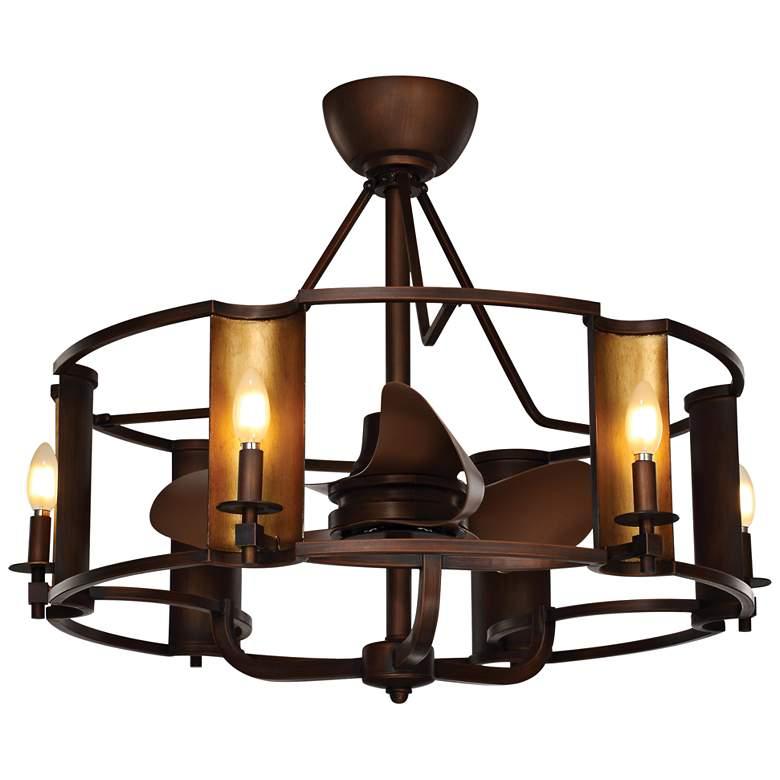 "31.25"" Maxim Candella Chestnut Bronze LED Damp Ceiling Fan"