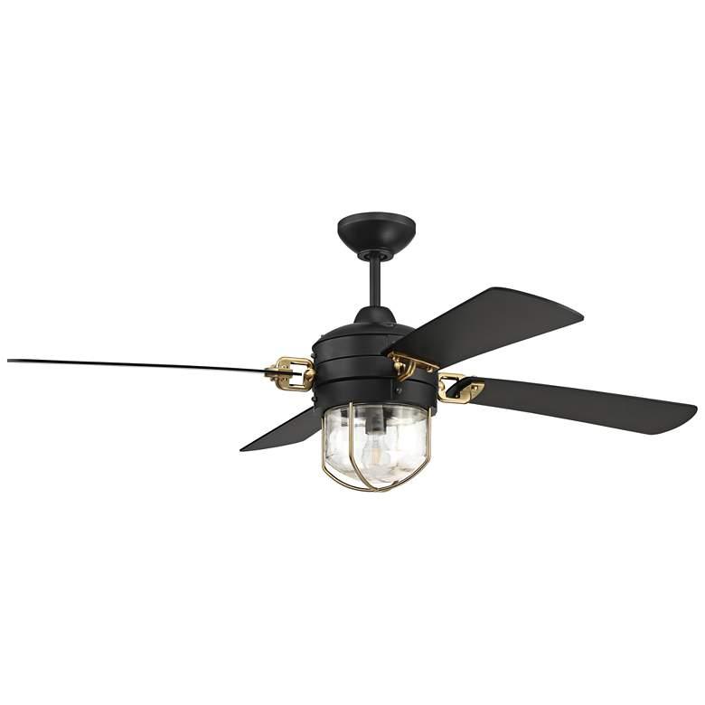 "52"" Craftmade Nola Flat Black - Satin Brass LED Ceiling Fan"