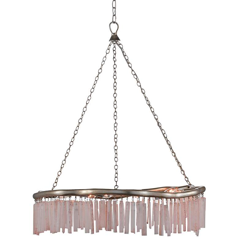 "Longuette 31"" Wide Silver Leaf and Selenite Chandelier"