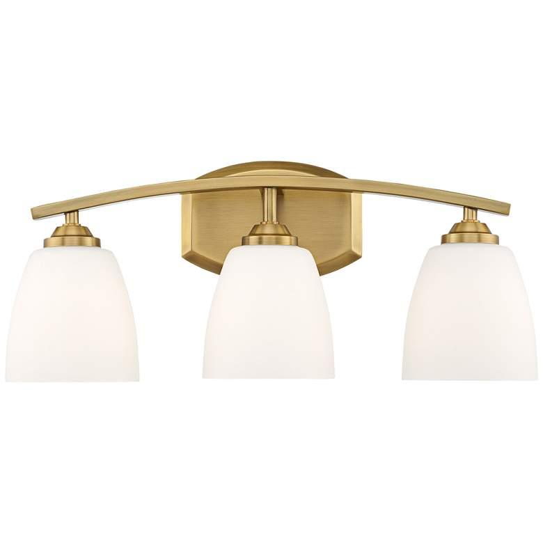 """Richter-Opal 22"""" Wide Antique Brass 3-Light Bath Light"""