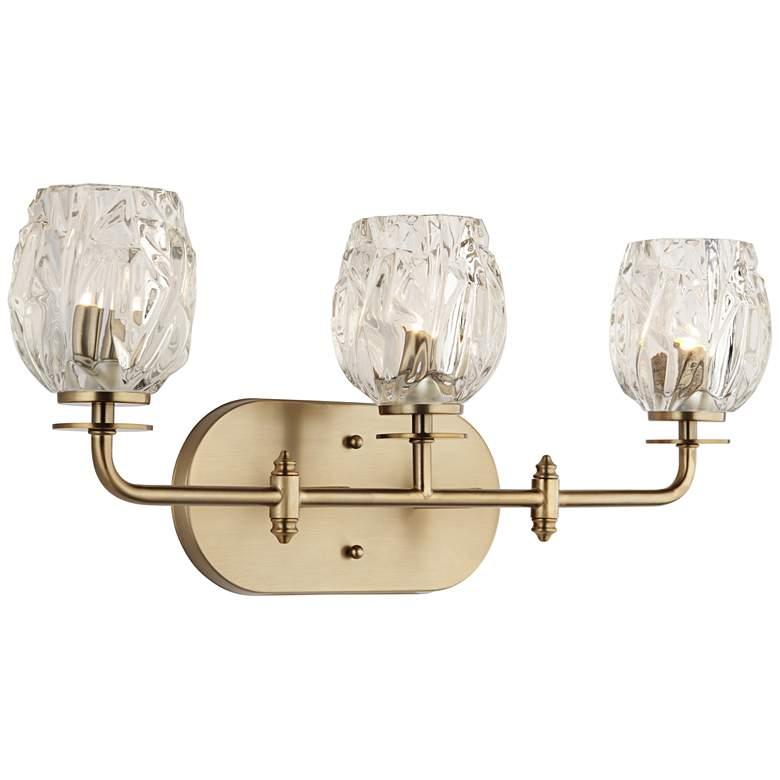 "Possini Euro Tulip Glass 22 1/2""W Brass 3-Light Bath Light"