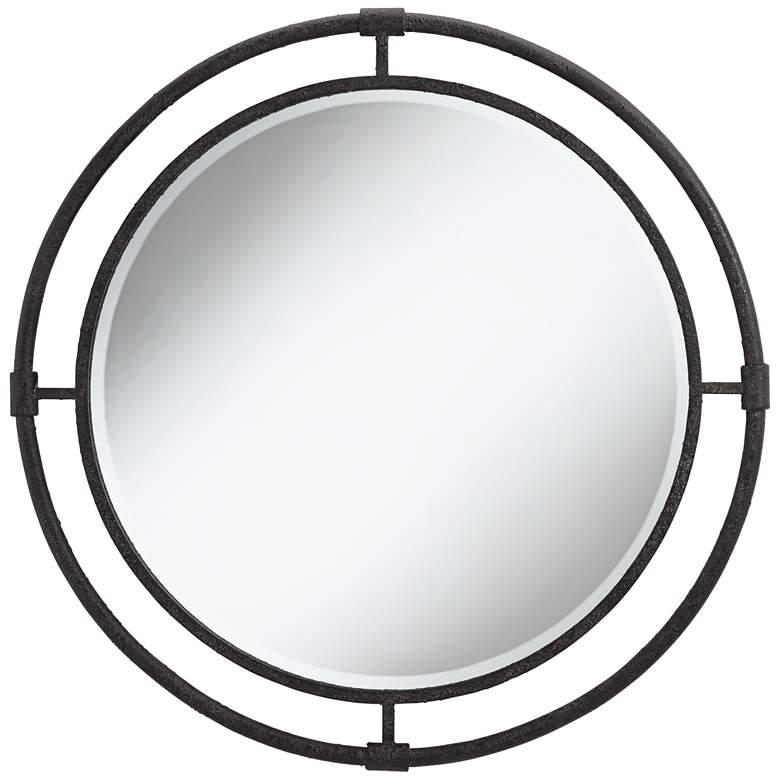 """Uttermost Ammi 32 1/2"""" Round Rough Black Iron Wall Mirror"""