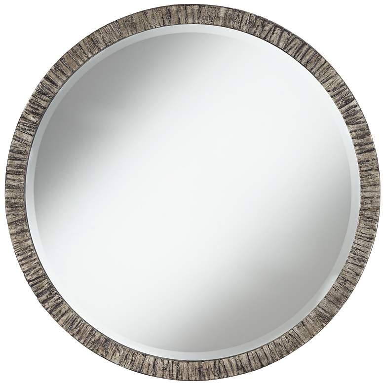 """Uttermost Bili 34"""" Round Antique Silver Leaf Mirror"""