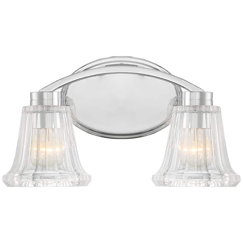 "Hughson 16"" Wide Chrome and Glass 2-Light Bath Light"