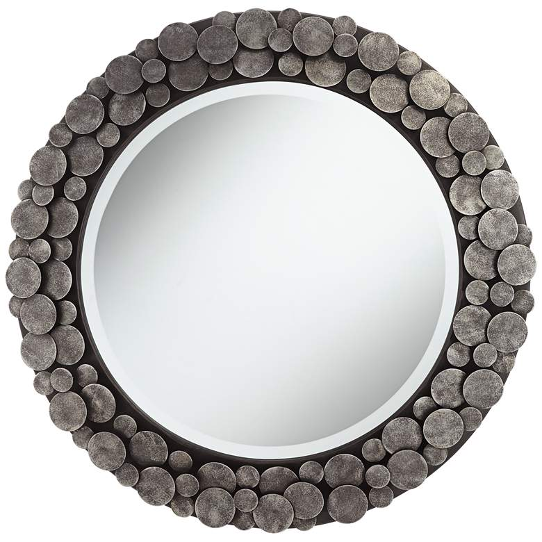 "Uttermost Rolin 32 3/4"" Round Staggered Nail Head Mirror"
