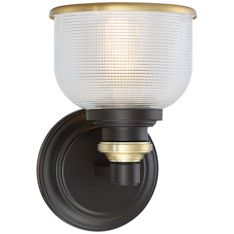 "Possini Euro Poway 9""H Bronze and Textured Glass Wall Sconce"