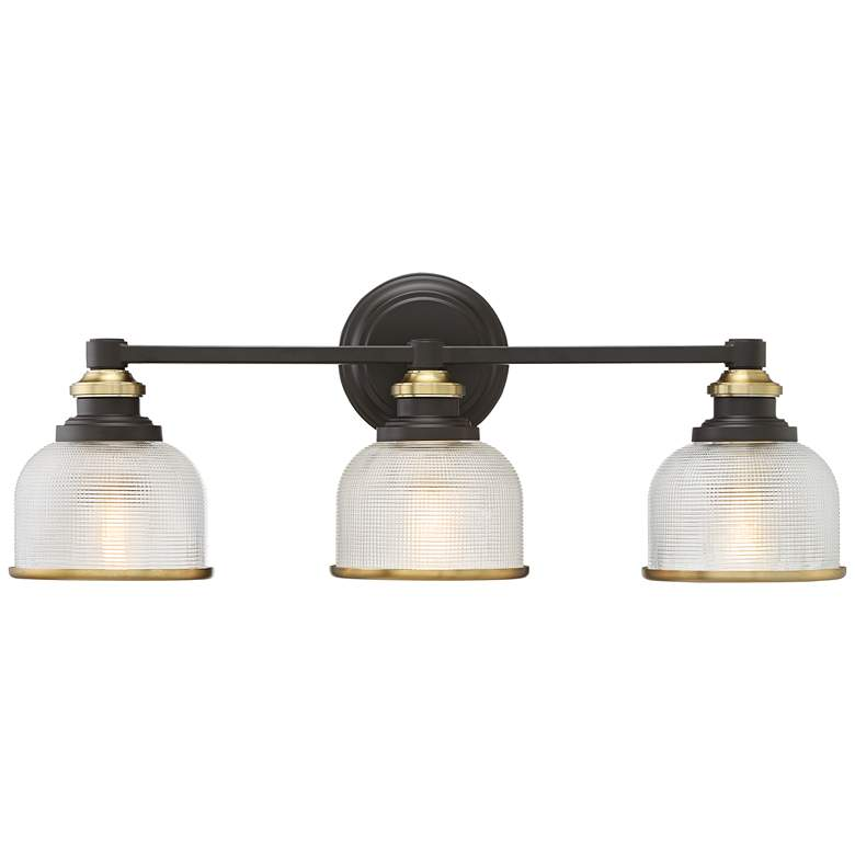 "Possini Euro Poway 24""W Bronze and Glass 3-Light Bath Light"