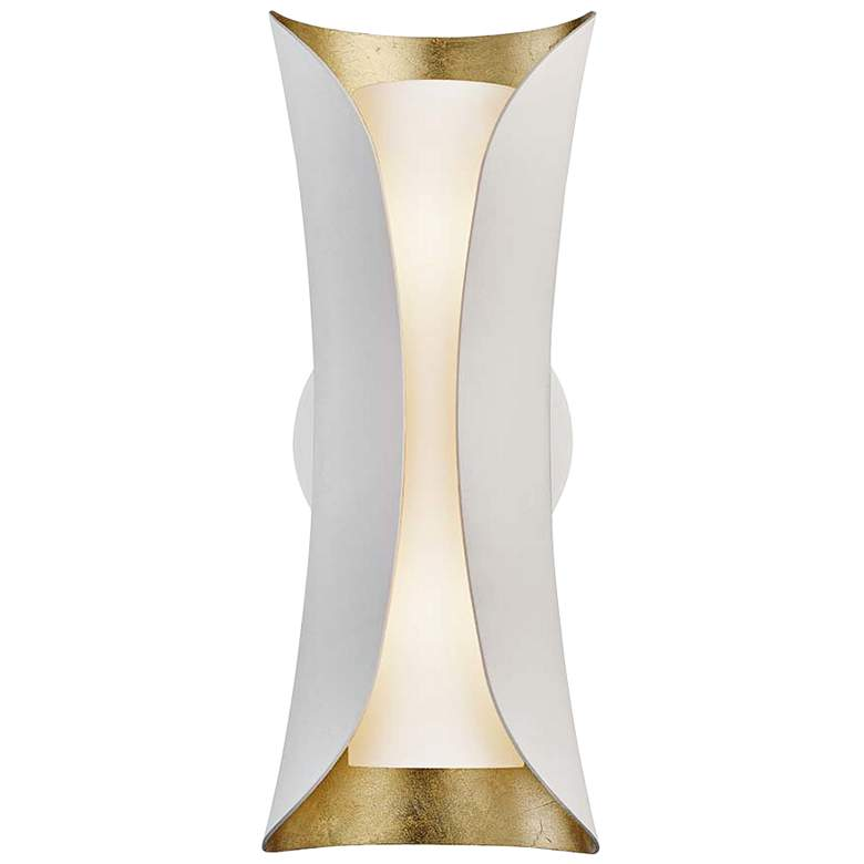 """Mitzi Josie 13 1/2"""" High Gold Leaf and White Wall Sconce"""