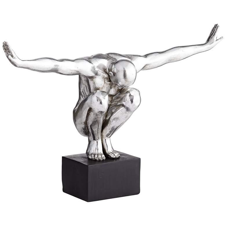 "Male Squatting Pose 19 1/2"" High Silver Sculpture"
